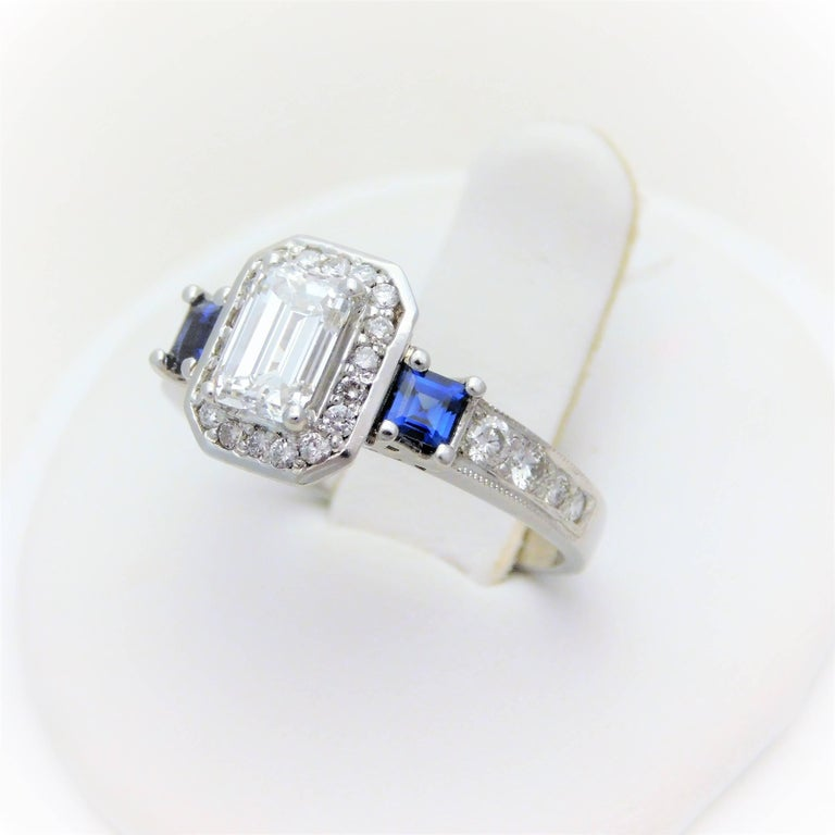 Women's GIA Certified 14 Karat Emerald-Cut Diamond and Ceylon Sapphire Engagement Ring For Sale