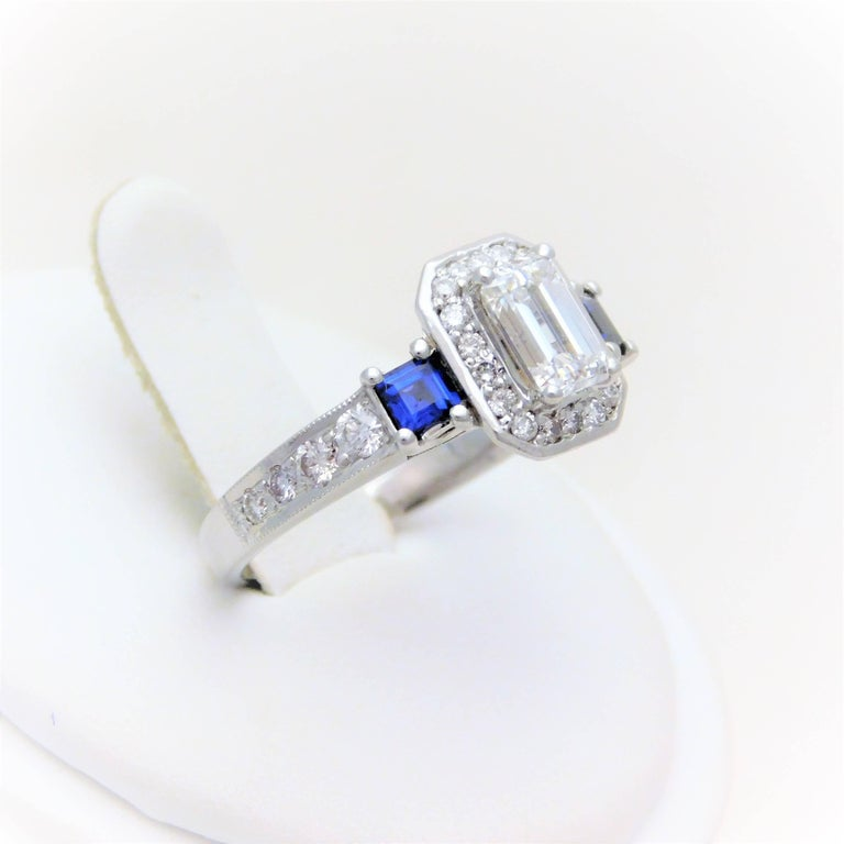 GIA Certified 14 Karat Emerald-Cut Diamond and Ceylon Sapphire Engagement Ring For Sale 1