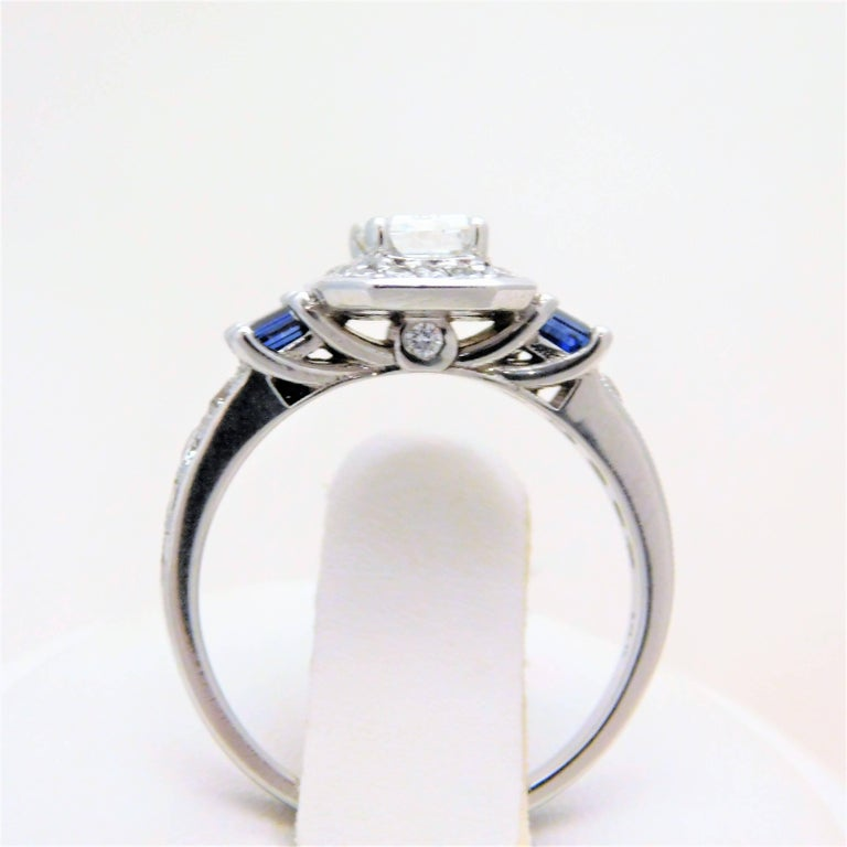 GIA Certified 14 Karat Emerald-Cut Diamond and Ceylon Sapphire Engagement Ring For Sale 4