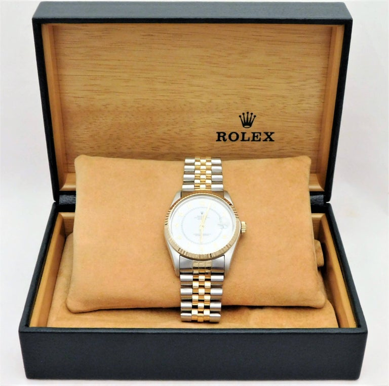 Rolex Yellow Gold Stainless Steel Datejust Vintage Automatic Wristwatch For Sale 6