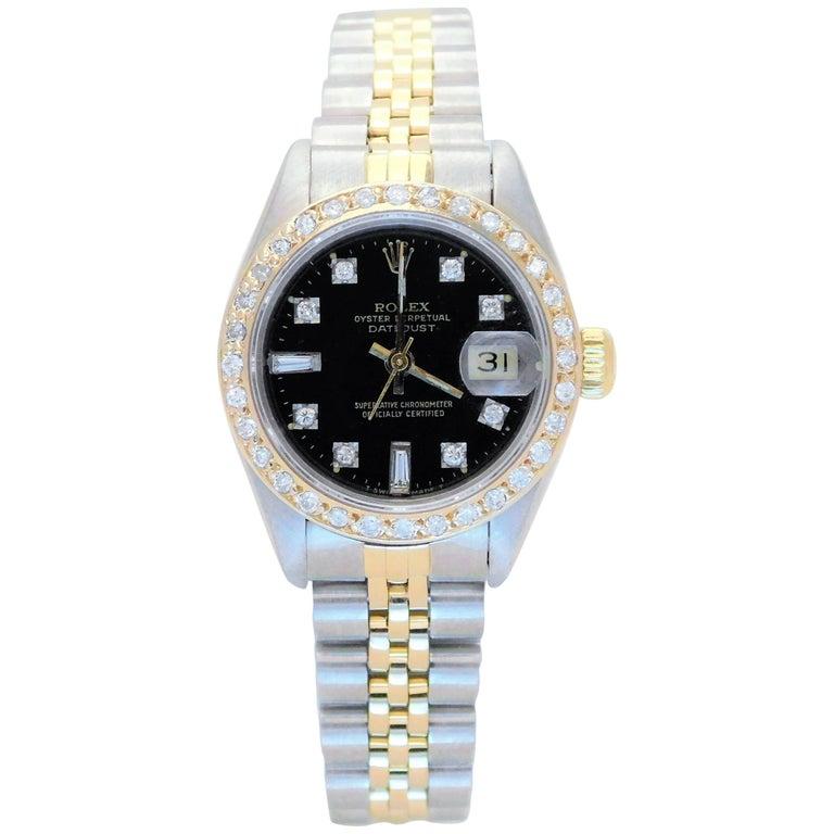 Rolex Ladies Yellow Gold Stainless Steel Diamond Datejust Automatic Wristwatch