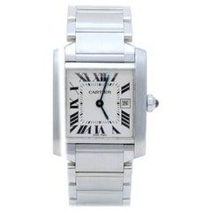 Cartier Ladies Stainless Steel Tank Francaise Quartz Wristwatch