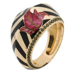 Alice Cicolini Jaipur Chevron Enamel Green Diamond Gold Angled Petal Ring