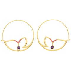 Alice Cicolini Chattri Ruby Amethyst Gold Hoop Earrings