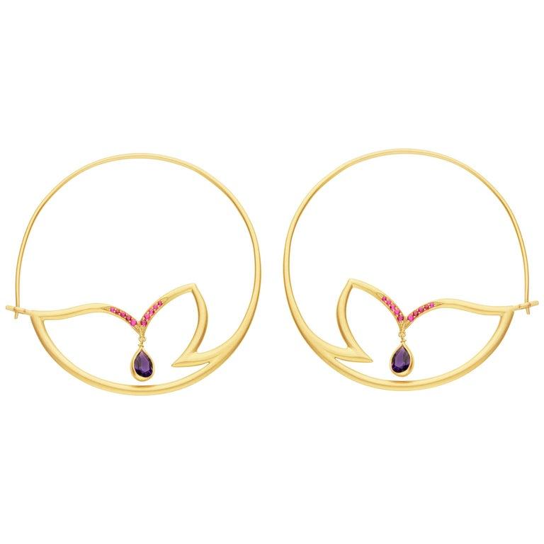 Alice Cicolini Chattri Ruby Amethyst Gold Hoop Earrings