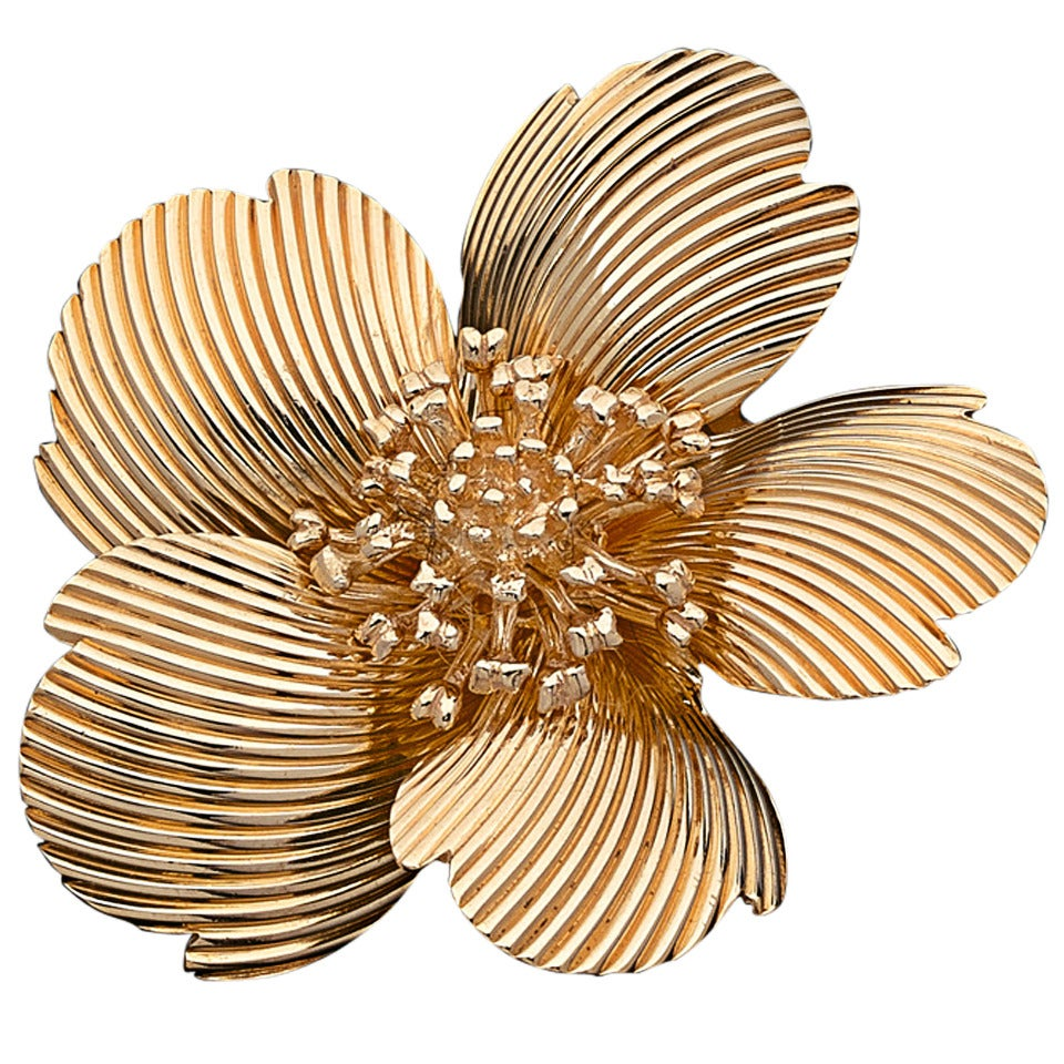 Tiffany & Co. Yellow Gold Flower Brooch