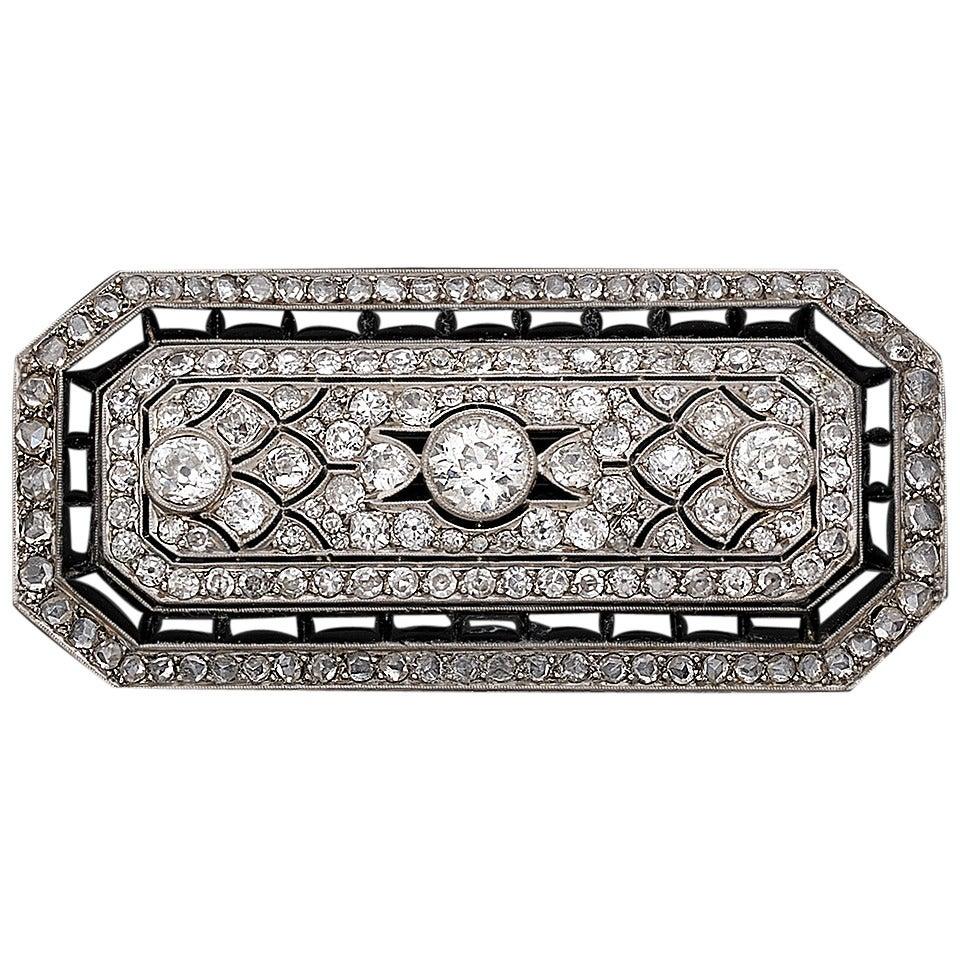 1930s  Onyx Diamond Platinum Brooch