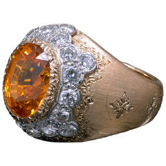 Buccellati Spessartite Garnet Diamond Gold Ring