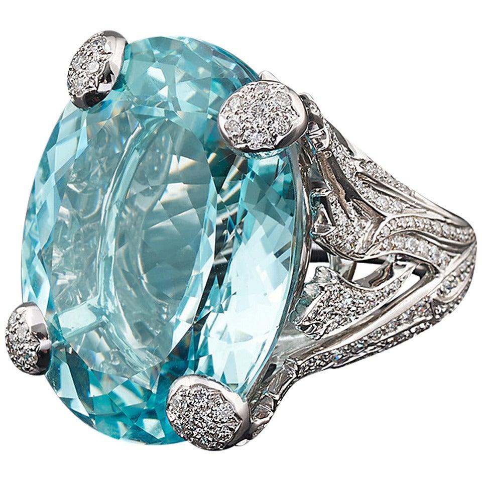 Dior Aquamarine Diamond Gold Ring