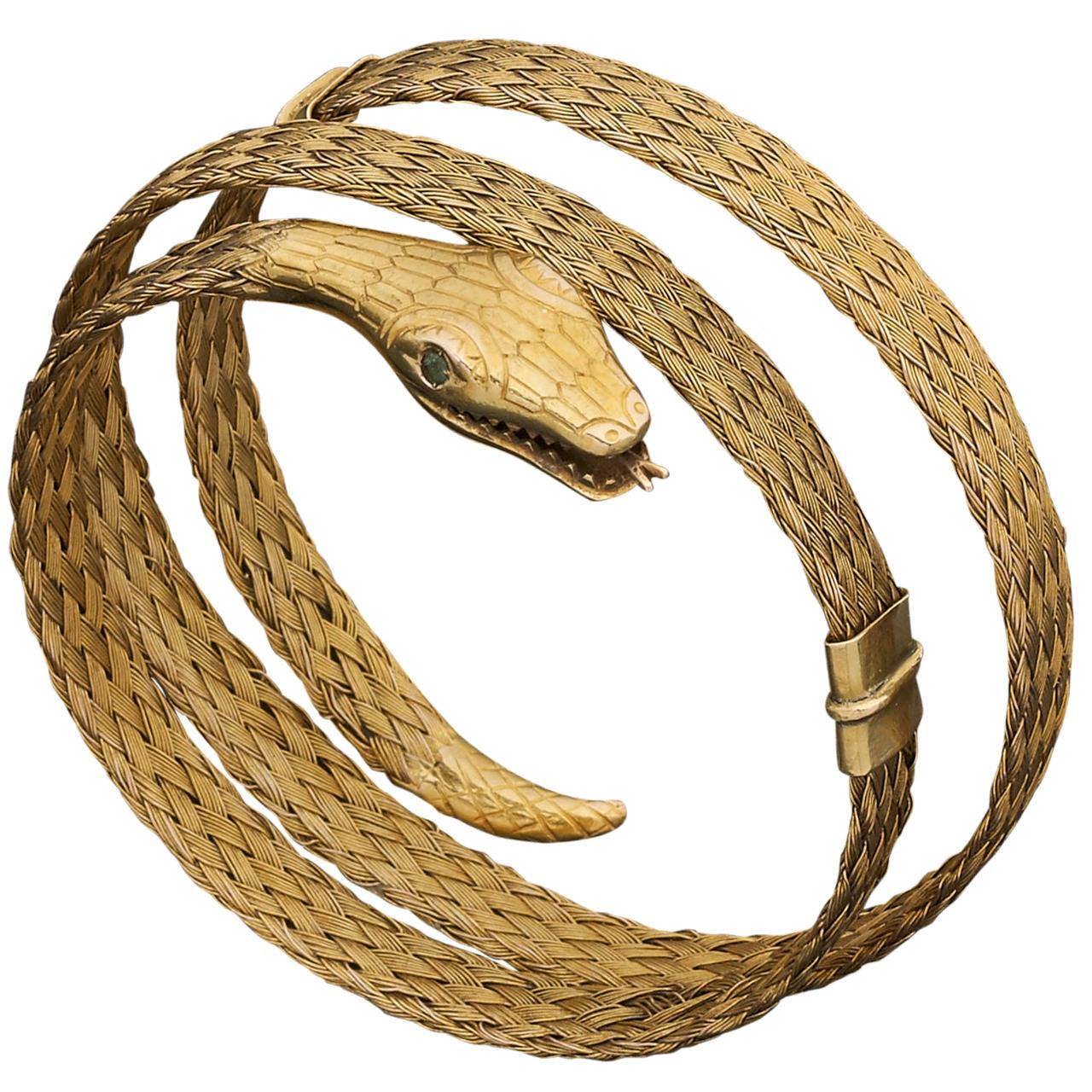 Emerald Gold Snake Bracelet 1