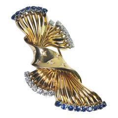 Gubelin Sapphire Diamond Gold Brooch