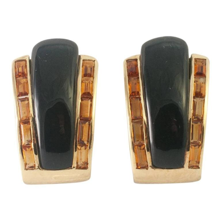 Sabbadini Onyx Citrine Gold Clip-On Earrings