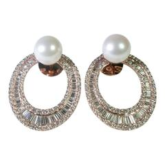 Diamond 9 Carat South Sea Pearl Gold Hooped Earrings