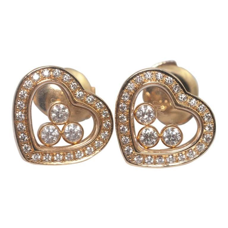 Chopard Happy Diamond Heart 18 Carat Gold Heart Stud Earrings
