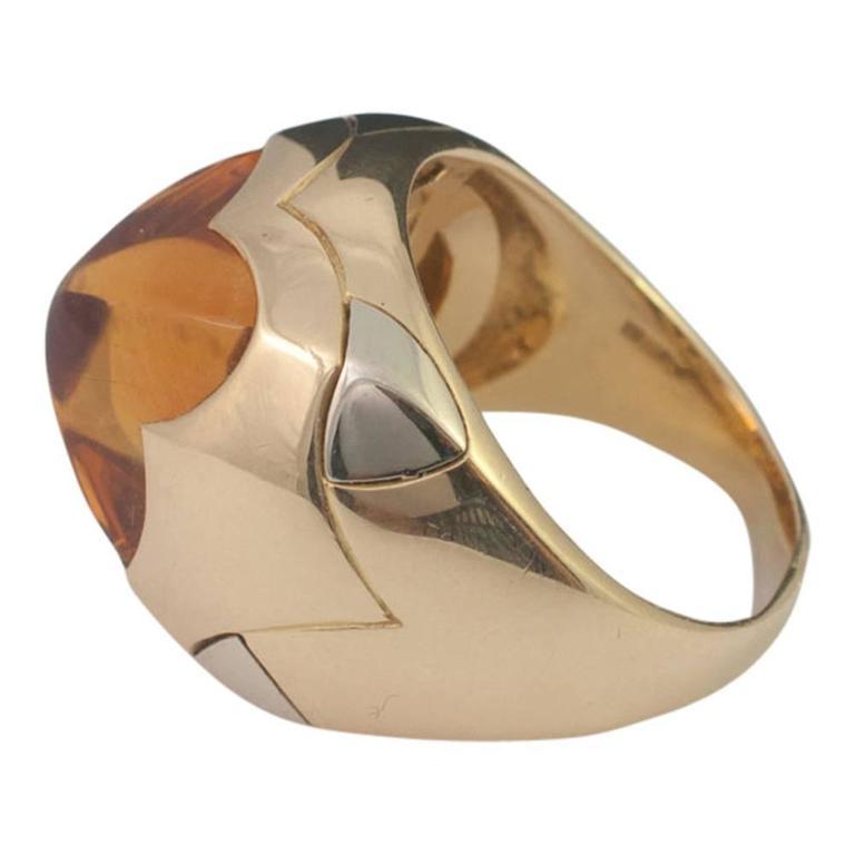 Bulgari BVLGARI Citrine Pyramid Yellow White 18 Carat Gold Band Dome Ring