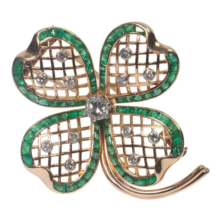 Mauboussin Emerald Diamond Gold Shamrock Brooch