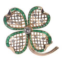 Mauboussin Emerald Diamond Gold Shamrock Brooch