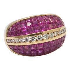Ruby Brilliant Cut Diamond 18 Carat Gold Bombé Cocktail Ring