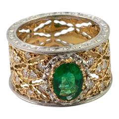 Buccellati Emerald Diamond Gold Ring