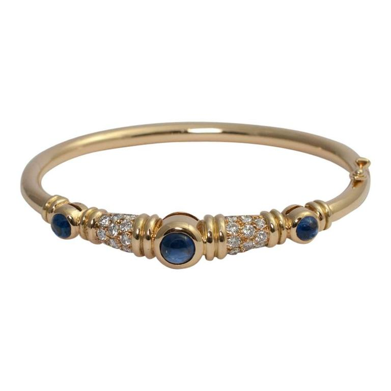 Chaumet Cabochon Sapphire Diamond Gold Bangle Bracelet