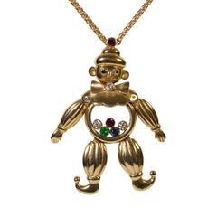 Chopard Happy Diamond 18 Carat Gold Emerald Ruby Sapphire Clown Pendant Necklace