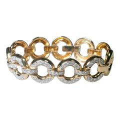 Diamond Gold Circles Link Bracelet