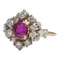 Burma No Heat Certified Ruby Diamond Gold Platinum Ring
