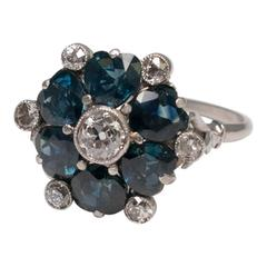 Antique Sapphire Hearts Diamond Ring