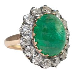 Antique Victorian Cabochon Emerald Diamond Silver Ring