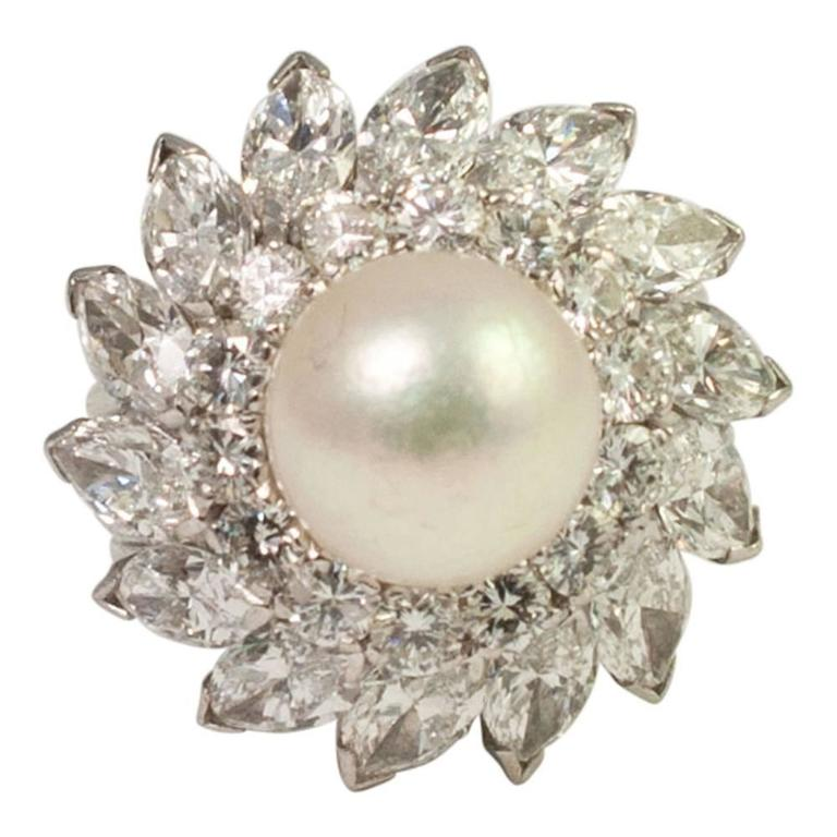 South Sea Pearl Diamond Platinum Cocktail Ring