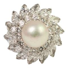 South Sea Pearl Diamond Platinum Cocktail Ring