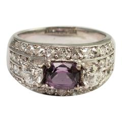 Violet Spinel Diamond Gold Band Ring