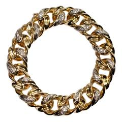 Tiffany & Co. Diamond 18 Carat Gold Chain Link Bangle Bracelet
