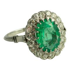1930s Colombian Emerald Gold Halo Ring