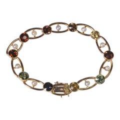 Antique Edwardian Tourmaline Garnet Pearl Gold Bracelet