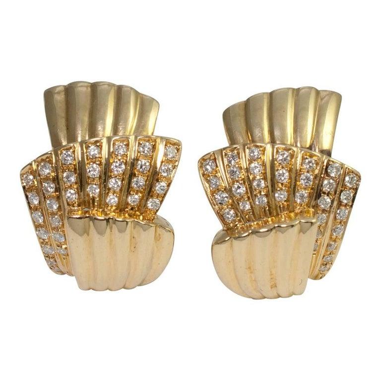 Diamond Gold Clip-On Fan Earrings