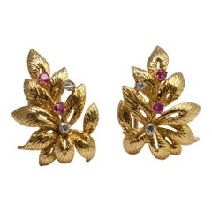 Ruby Diamond Gold Leaf Earrings