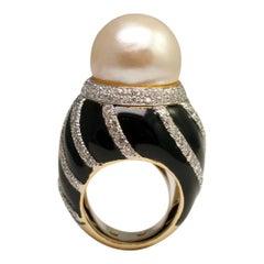 David Webb Pearl Diamond Enamel Gold Ring