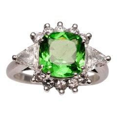 Tsavorite Diamond Platinum Ring