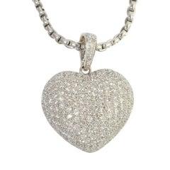 Large Diamond Heart Gold Pendant