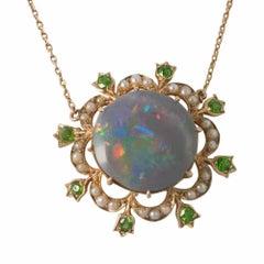 Edwardian Black Opal Demantoid Garnet Pearl Gold Pendant