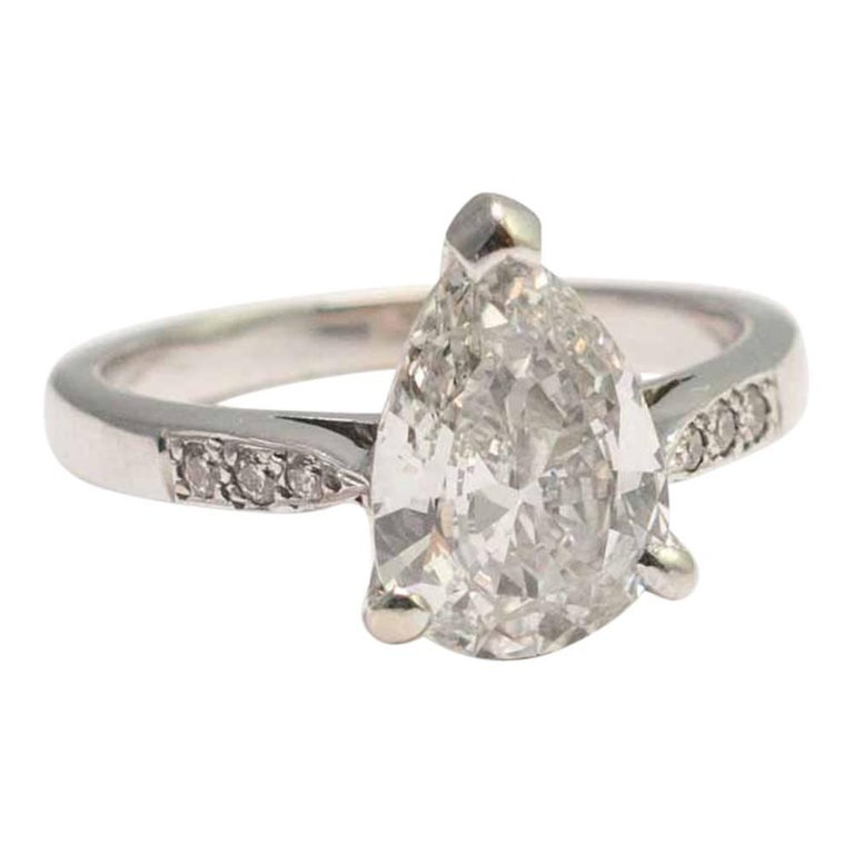 Pear Shaped 2.07 Carat Diamond Solitaire Ring