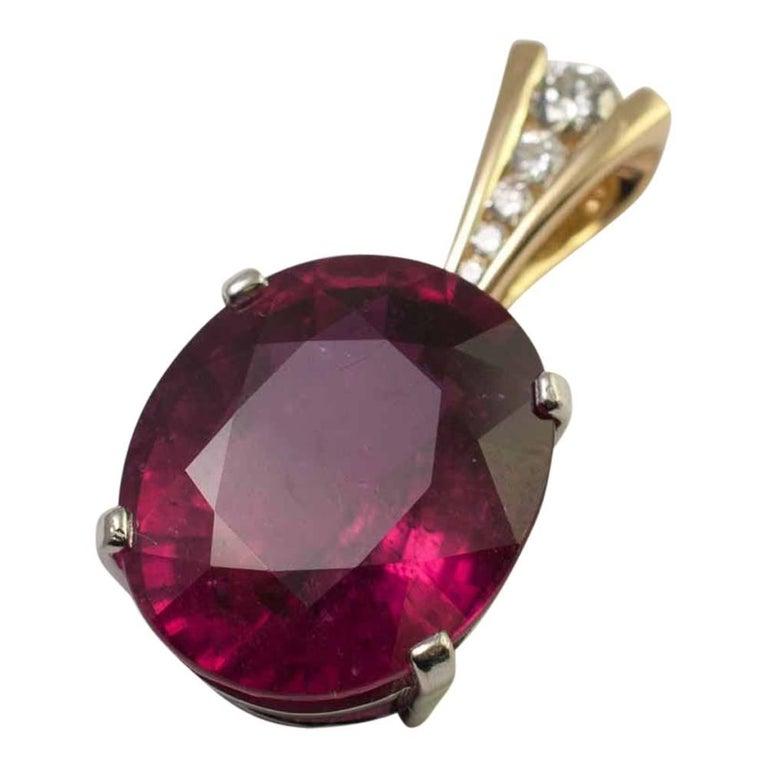 Rubellite Diamond Gold Pendant