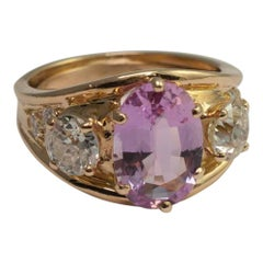 Pink Topaz and Diamond Three-Stone Ring
