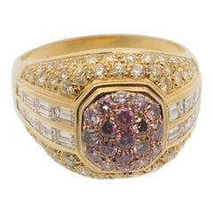Pink Yellow White Diamond Bombé Gold Ring