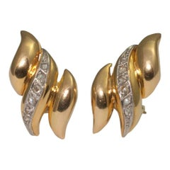 Gold Diamond Clip on Earrings