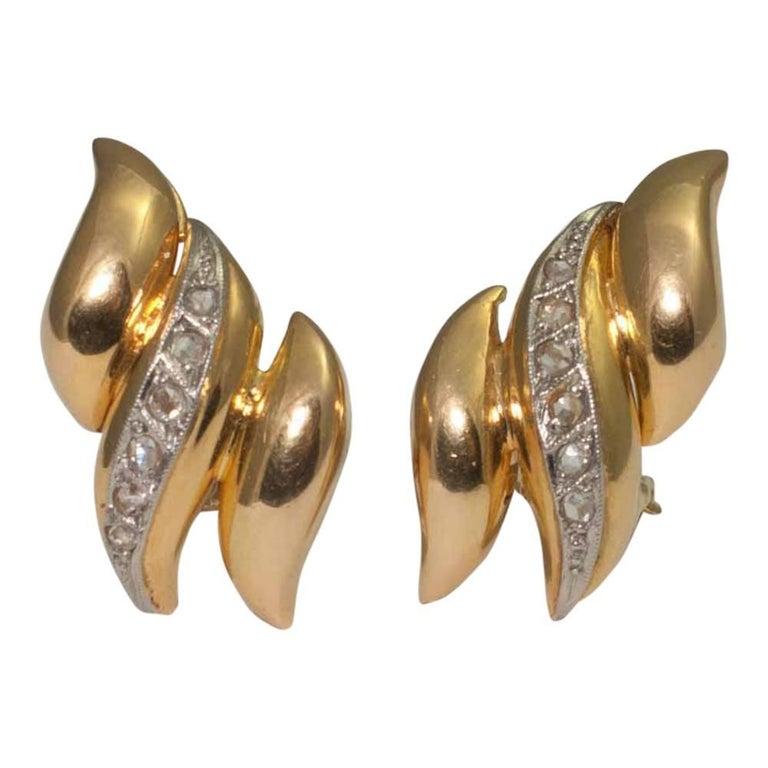 Platinum 18 Carat Gold Rose Cut Diamond Clip Earrings