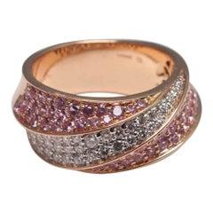 Pink Sapphire Diamond 18 Carat Gold Band Eternity Ring