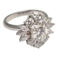 Diamond Cluster Platinum Cocktail Ring