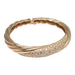 Diamond and 18 Carat Gold French Bangle